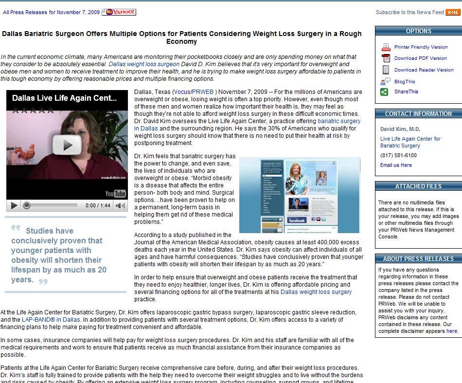 Dallas Bariatric Surgeon Press Release