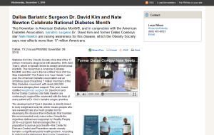 Dr. Kim and Nate Newton Promote American Diabetes Month
