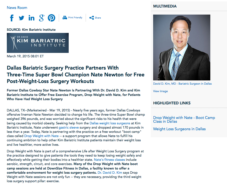 kim bariatric institute,weight loss,surgery,surgeon,dallas,fort worth,colleyville,dr david d kim,nate newton,football,super bowl,lap band,gastric, sleeve,bypass,support group,exercise,workout,boot camp