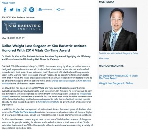 kim,bariatric,institute,weight loss,surgery,surgeon,dr,david d kim,md,vitals,on time,award,inverted,gastric sleeve