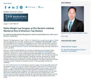 kim bariatric institute,top,doctors,america,weight loss,surgeon,surgery,dallas,ft worth,david d kim