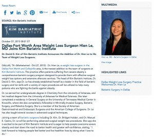 kim bariatric institute,weight loss,surgery,surgeon,dallas,fort,ft,worth,colleyville,dr,hien le,md
