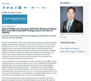 Dr. David D. Kim discusses new obesity study.