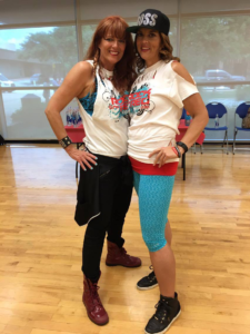 DFW DanceFitness instructor Carla Riffel and KBI patient instructor in training Robyn Rutledge