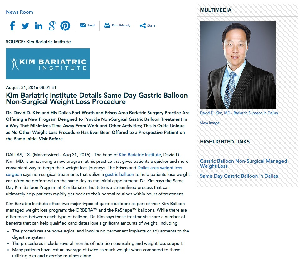 Dr. David D. Kim discusses the Same Day Kim Gastric Balloon weight loss program.
